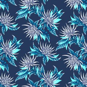 Chrysanthemums - Grey  / Teal