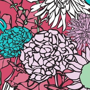 Pop Floral in Cranberry, Teal & Pink tones