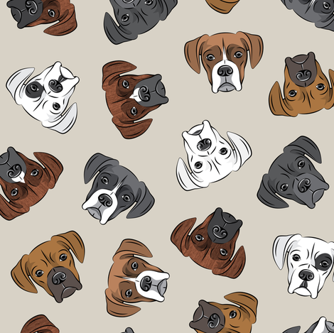 all the boxers - beige fabric by littlearrowdesign on Spoonflower - custom fabric