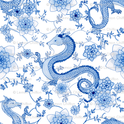 Chinoiserie blue dragons