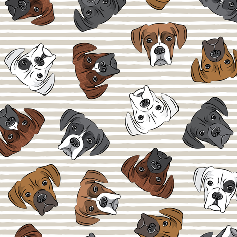 all the boxers - beige stripes fabric by littlearrowdesign on Spoonflower - custom fabric