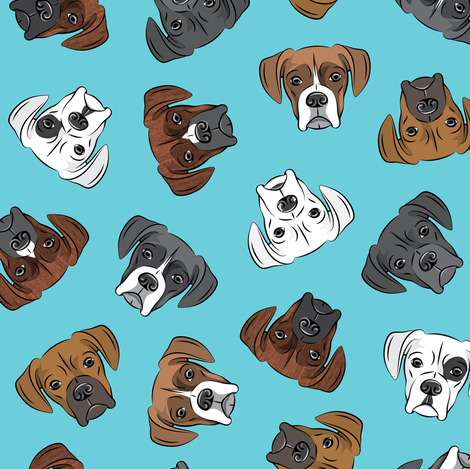 all the boxers - blue fabric by littlearrowdesign on Spoonflower - custom fabric