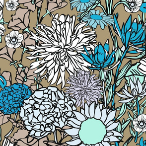 Pop Floral in Browns and Blues