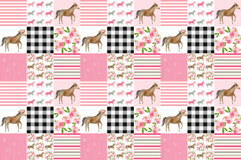floral horse  6 INCH fabric by attic_15127 on Spoonflower - custom fabric