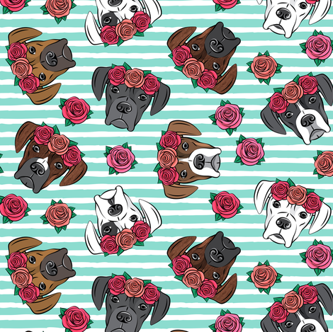 all the boxers with floral crowns - teal stripes fabric by littlearrowdesign on Spoonflower - custom fabric
