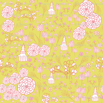 Flora Forest with Pagoda chinoiserie white rose on lemongrass