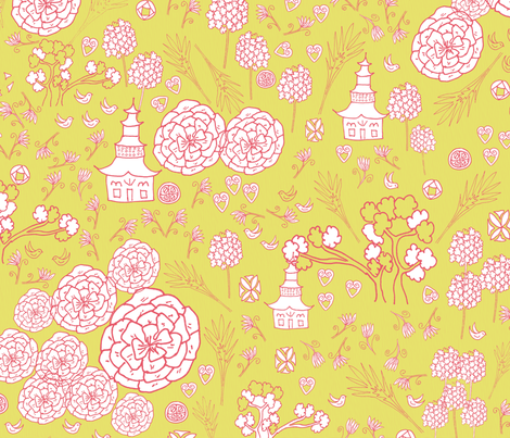 Flora Forest with Pagoda chinoiserie white rose on lemongrass fabric by henry_&_florence on Spoonflower - custom fabric