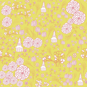Flora Forest with Pagoda chinoiserie  rose on lemongrass