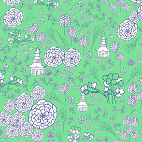 Flora Forest with Pagoda chinoiserie white  blue on apple