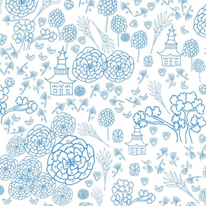 Flora Forest with Pagoda chinoiserie BLUE