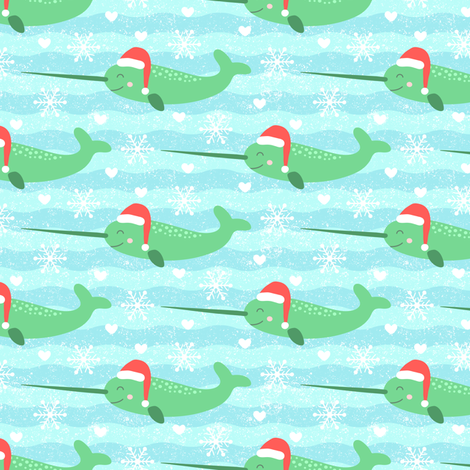 Festive Narwhal fabric by moonpuff on Spoonflower - custom fabric