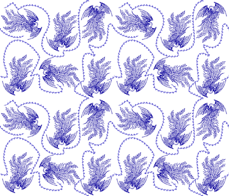 chinoiserie phoenix flying with vines fabric by emmie_norfolk on Spoonflower - custom fabric