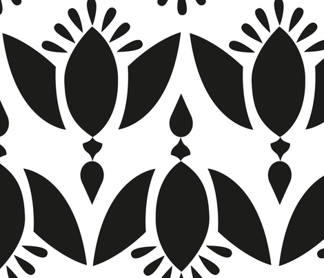Blomst Black and White fabric by chiqdesign on Spoonflower - custom fabric