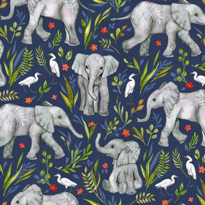 Baby Elephants and Egrets in Watercolor - navy blue, large print