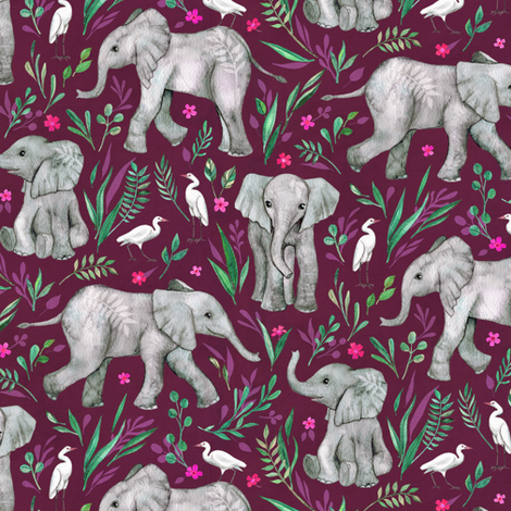 Baby Elephants and Egrets in Watercolor - burgundy, small print fabric by micklyn on Spoonflower - custom fabric
