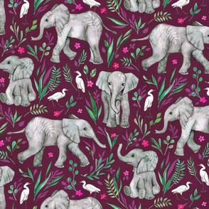 Baby Elephants and Egrets in Watercolor - burgundy, small print