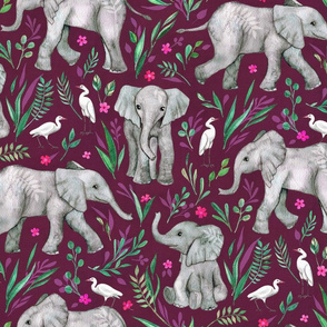 Baby Elephants and Egrets in Watercolor - burgundy, large print