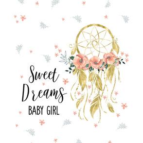 "38""x52"" inside a 36""x72"" Sweet Dreams Baby Girl Gold"