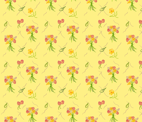 Dancing Bouquets__Sunshine fabric by teawithxanthe on Spoonflower - custom fabric