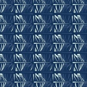 Indigo Blue Carved Japanese Style Rectangle Lines Oriental Trend