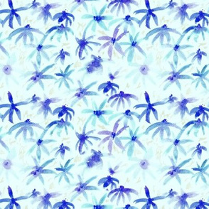 Watercolor meadow in blue || floral pattern