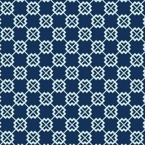 Square Motif Grid Japanese Style Hand Drawn Indigo Quilt