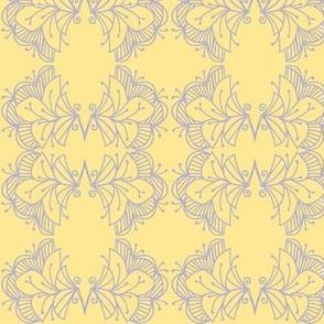 Bird flowers/lavender/yellow