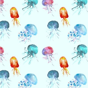 Watercolor jellyfish on blue