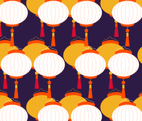 chinese lantern fabric by sissi-tagg on Spoonflower - custom fabric