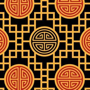 Chinese geometrics Black Large