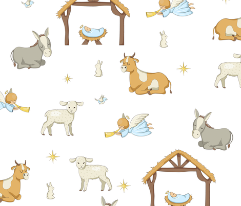 Seamless Nativity Paper fabric by daily_miracles on Spoonflower - custom fabric