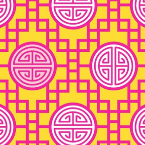 Chinese geometrics Pink Yellow Large