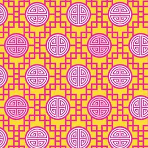 Chinese geometrics Pink Yellow Small