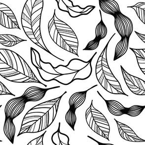 Falling leaves black and white medium
