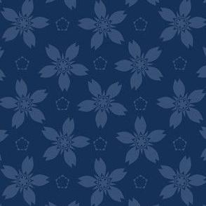 Geometric Flower Motif Japanese Style Hand Drawn Indigo Blue Floral