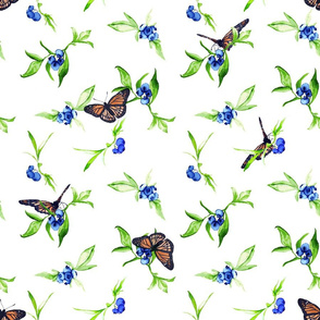 Blueberries and Butterflies Watercolor