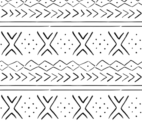 "10.5"" Modern Mudcloth // White and Black fabric by hipkiddesigns on Spoonflower - custom fabric"