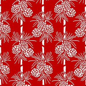 White Christmas Pine Cones on Dark Red: Holidays Red and White
