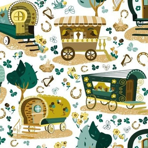Wandering Wagons in Green