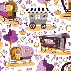 Wandering Wagons in Purple