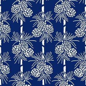 White Christmas Pine Cones on Deep Blue: Holidays Blue and White