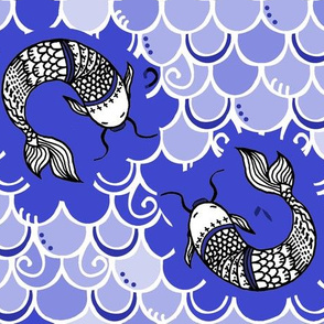 Persevere /Blue Chinoiserie  -white lines  lg