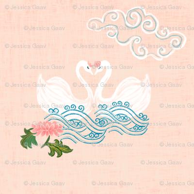 Love Swans on peach - chinoiserie