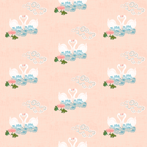 Love Swans on peach - chinoiserie fabric by jjdesignwithlove on Spoonflower - custom fabric