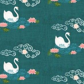 Swan on dark green - chinoiserie