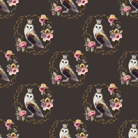 "4"" Cambridge Owl Brown fabric by shopcabin on Spoonflower - custom fabric"