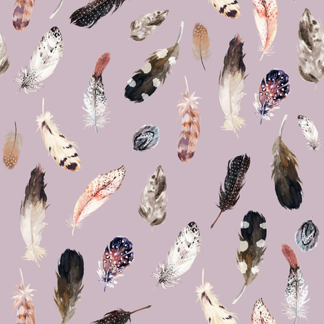"8"" Winter Boho Feathers Mauve fabric by shopcabin on Spoonflower - custom fabric"