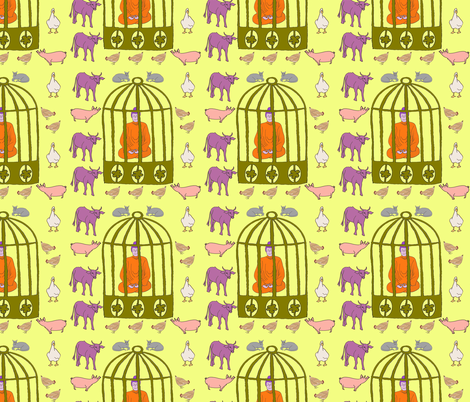 Caged Buddha fabric by carmen_ray_anderson on Spoonflower - custom fabric