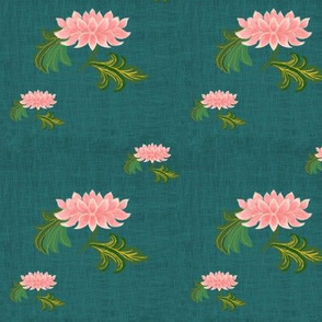 Lotus on dark green linen texture