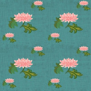 Lotus on green linen texture